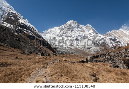 General view of Annapurna South and base camp - Nepal, Himalayas