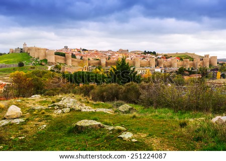 general view of Avila with  town walls in november. Spain