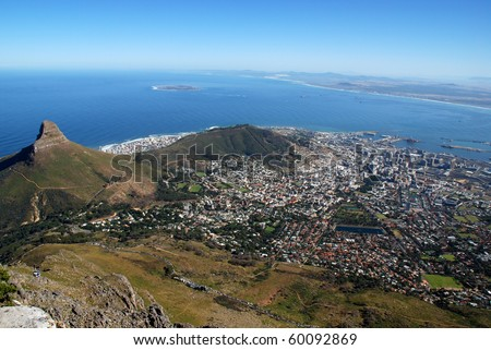 general view of Capetown and Table Bay(South Africa) - stock photo