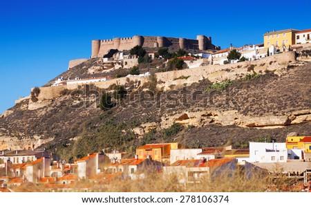 General view of castle of Chinchilla.  Chinchilla de Monte-Aragon, province of Albacete - stock photo