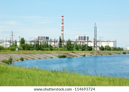 General view of Chernobyl nuclear power station on June 27, 2010 in Pripyat, Ukraine. A nuclear disaster happened here after reactor number 4 exploded 25 years ago - stock photo