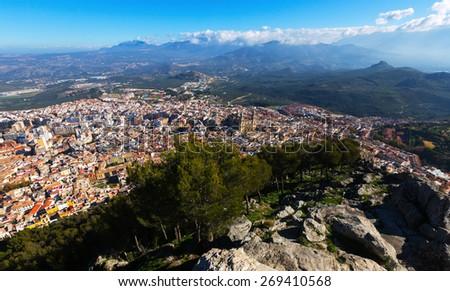 General view of Jaen from mount. Spain