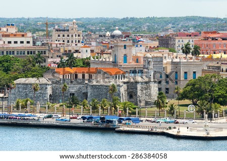 General view of Old Havana featuring an Old spanish colonial fortress - stock photo