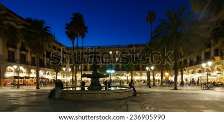 General view of Placa Reial in winter evening. Barcelona, Spain - stock photo