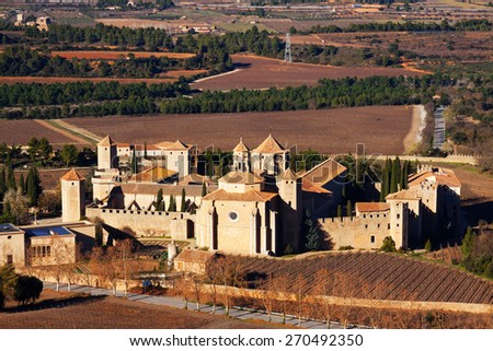 General view of Poblet Monastery in winter. Catalonia - stock photo
