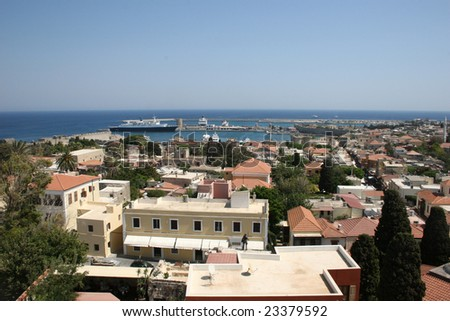 General view of Rhodes with port