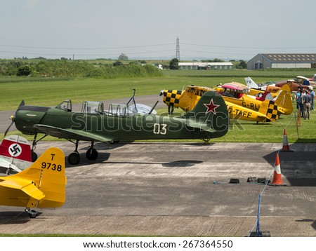 General view of the airfield with light aircraft at Breighton airfield,Yorkshire.taken 01/06/2014 - stock photo