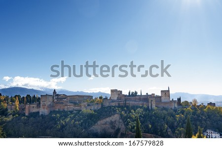General view of the Alhambra - stock photo
