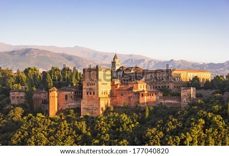 General view of the Alhambra from Albaicin in Granada, Andalusia, Spain  - stock photo