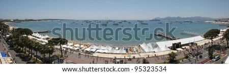General view of the Bay of Cannes and La Croisette from the roof of the Noga Hilton Hotel, Cannes at the 60th Annual International Film Festival de Cannes. May 18, 2007  Cannes, France.  2007 Paul Smith / Featureflash - stock photo