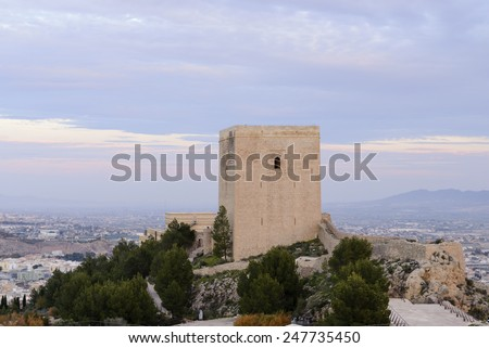 General view of the city of Lorca, Spain from  the castle - stock photo