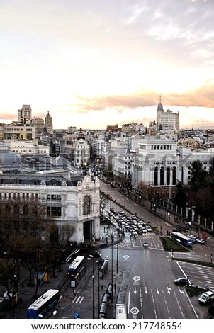 General view of the city of Madrid in Spain - stock photo