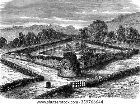 General view of the fortified camp of Jublains, vintage engraved illustration. Magasin Pittoresque 1878.