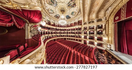 General view of the hall. The Odessa National Academic Theater of Opera and Ballet in Ukraine. Central Golden Hall. 06 Jan 2014