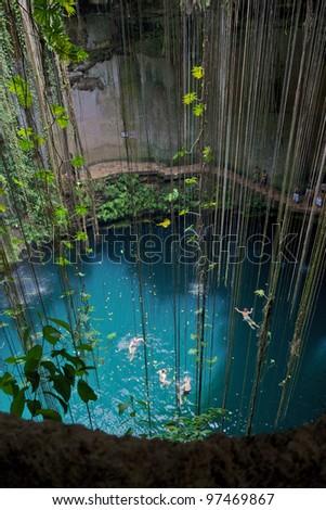 General view of the Ik-Kil cenote near Chichen Itza, Mexico - stock photo