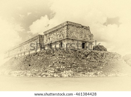 General view of the palace in the ancient city Uxmal - Yucatan, Mexico (stylized retro)