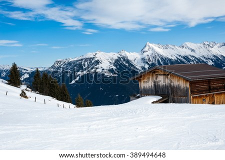 General view of the ski area Mayrhofen - Zillertal, Austria