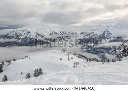 General view of the ski area Penken - Mayrhofen, Austria