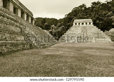 General view of the square in Palenque, Mexico (stylized retro)