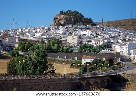 General view of the town, Ardales, Malaga Province, Andalusia, Spain, Western Europe. - stock photo