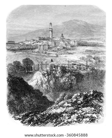 General view of the town of Hombourg, vintage engraved illustration. Magasin Pittoresque 1857.