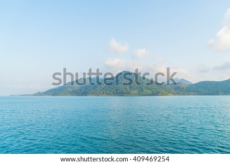 General view of the tropical island from the sea - boost up color processing