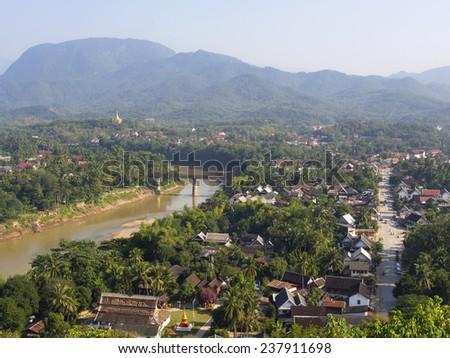 General view of UNESCO World Heritage town Luang Prabang, Laos.  - stock photo