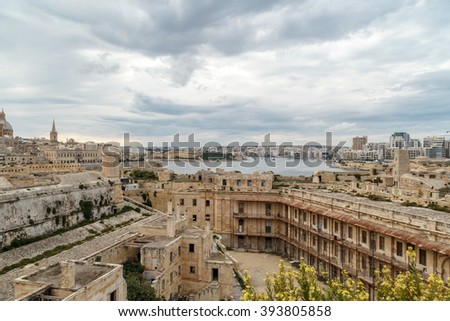 General view of Valletta cityscape at Malta island with historical limestone buildings from medieval times.