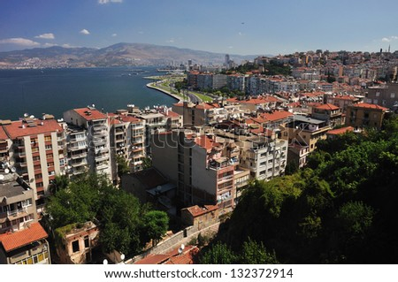 General view on Izmir, Turkey (sunny day) - stock photo