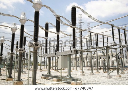 general view to high-voltage substation with switches - stock photo