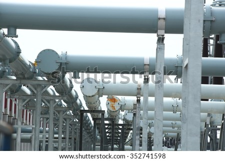 general view to high-voltage substation with switches and extra high voltage electric power 500 kV Gas Insulated Switchgear. ( GIS