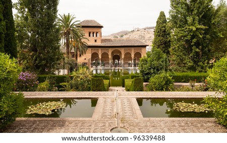 Generalife gardens and palace inside the Alhambra in Granada, Spain - stock photo