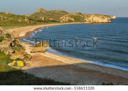 Generals beach at dawn. Karalar regional landscape park in the Crimea.