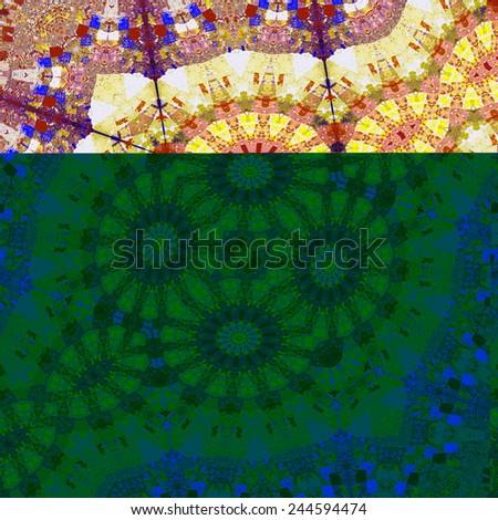 Generated Fractals Pattern - Abstract Art Geometric Background - Digital Artwork Graphic - Fantasy Illustration - Symmetrical Decoration - White Purple Orange Geometrical Fractal Chaos - Modern - stock photo