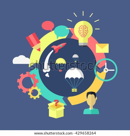 Generation of ideas banner design. Process of creation and implementation of ideas projects or startup. Brainstorming discussion and launch of projects on color flat style.  illustration - stock photo