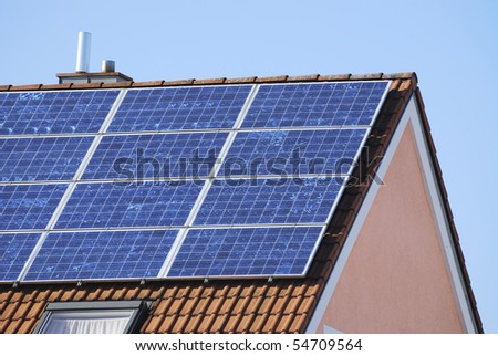 Generation of renewable energy on the roof. of a house.