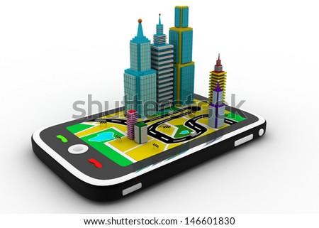 generation phone city - stock photo