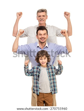 Generation portrait. Power. Grandfather, father and son isolated a white background. - stock photo