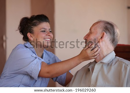 generations, grandad and grandchild family affection - stock photo