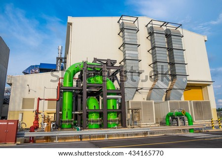 Generator and gas turbine building in combined cycle power plant - stock photo