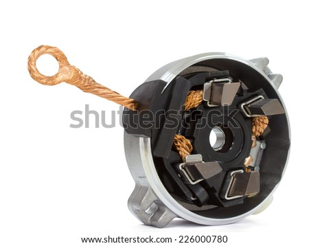 Generator brushes on a white background spare parts for the starter to the car on a white background - stock photo