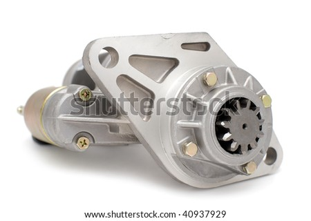 generator for auto engine against white background - stock photo