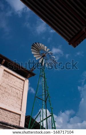 Generator propeller at coffee farm in Guatemala - stock photo