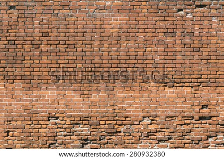 Generic abstract of old red brick wall - landscape exterior - stock photo