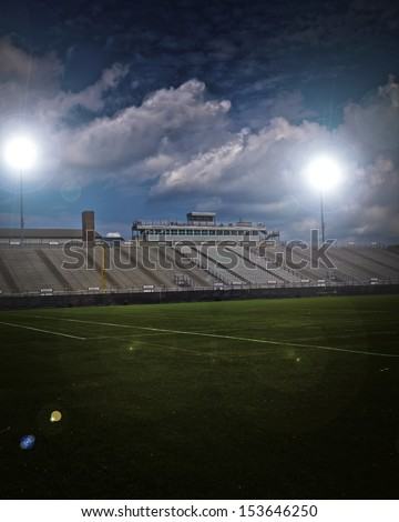 Generic American football and general sports stadium with vignette.  - stock photo