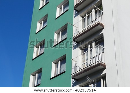 Generic apartment block - socialist style architecture in Siemianowice Slaskie, Poland. - stock photo