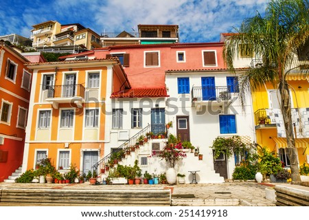 Generic architecture in the town of Parga, Greece - stock photo