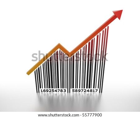 Generic barcode with arrow pointing up. - stock photo