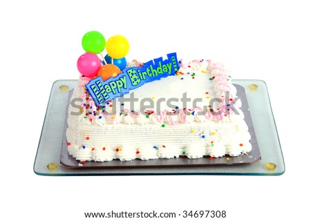 Generic Birthday Cake, isolated on white, with room for text - stock photo