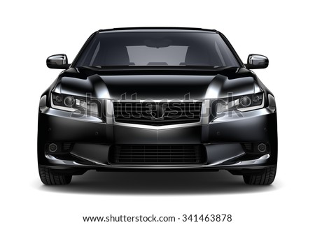 Generic black car - front view - stock photo
